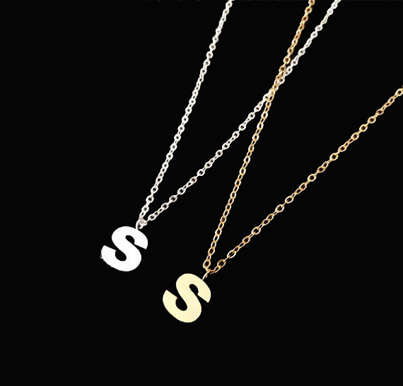2016 New Charm Jewelry Silver S Gold Plated Chains Stainless Steel 26 Initial Letter Necklace For Women Men Graduation Gift(China (Mainland))
