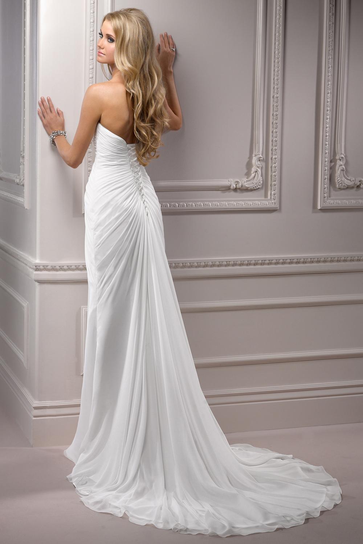 2015 high end custom chiffon dress back strap tail wedding for High end wedding dress