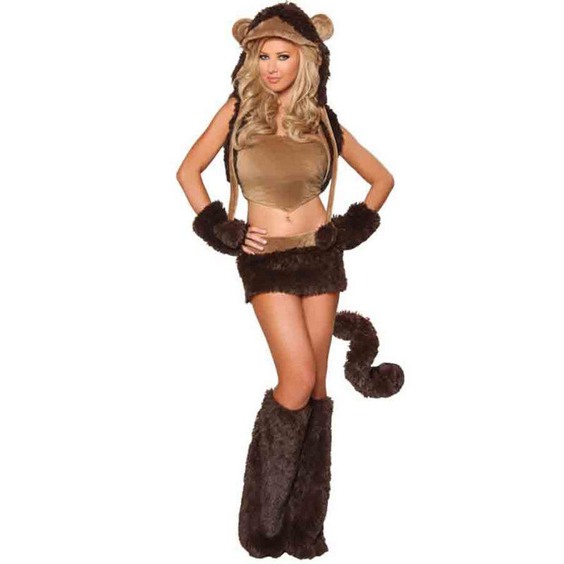 Hot Faux fur Women Sexy 6pcs Compelet Brown Monkey Costume Best Cosplay Fancy Dress For Halloween Parties.(China (Mainland))
