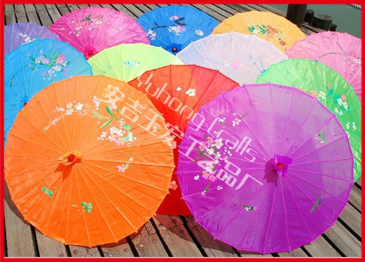 50pcs/lot free shipping colorful hand-painted wedding silk parasol Chinese umbrella for bride(China (Mainland))