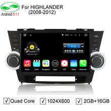 "10.1"" Quad Core Android 5.1.1 HD 1024*600 Car PC DVD For Toyota Highlander Kluger 2009 2010 2011 2012 GPS Navigation Radio DVR(China (Mainland))"
