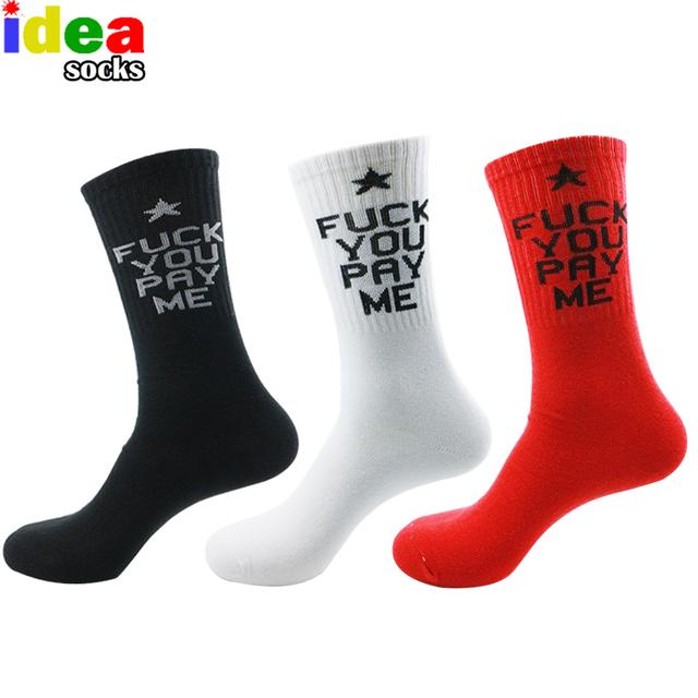 Harajuku прилив бренда сжатия длинные мужские носки для спорта ВЫ ПЛАТИТЕ МНЕ письмо ...