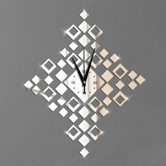 Q Wall Stickers Wall Clock Environmentally Friendly Plastic Material Silent Movement Crystal Square Clocks Home Decor(China (Mainland))