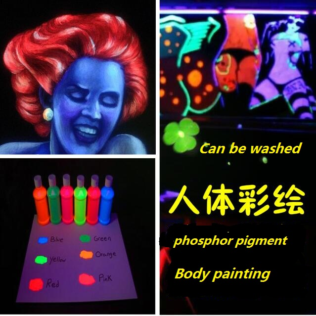 UV phosphor pigment fluorescent pigment skin painting special fluorescent paint photosensitive pigment night club(China (Mainland))