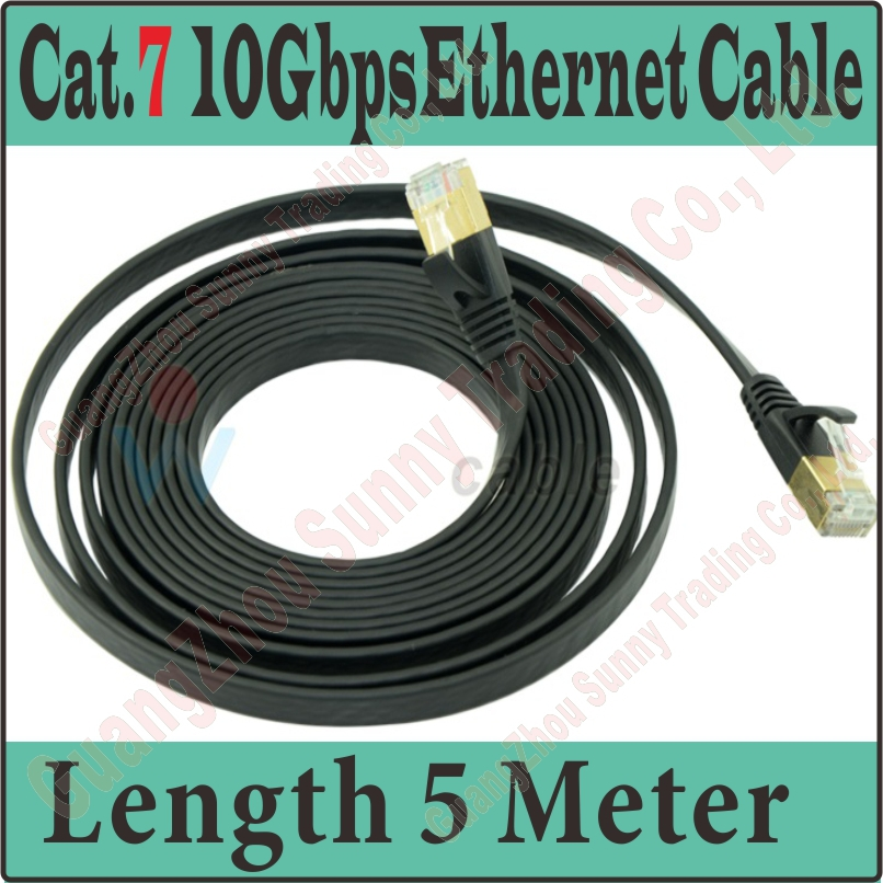 Best Quality New 15FT 5M CAT.7 CAT 7 Flat UTP 10Gbps Ethernet Network Cable RJ45 Patch LAN Cord wholesale,Free&Shipping,PROM5(China (Mainland))