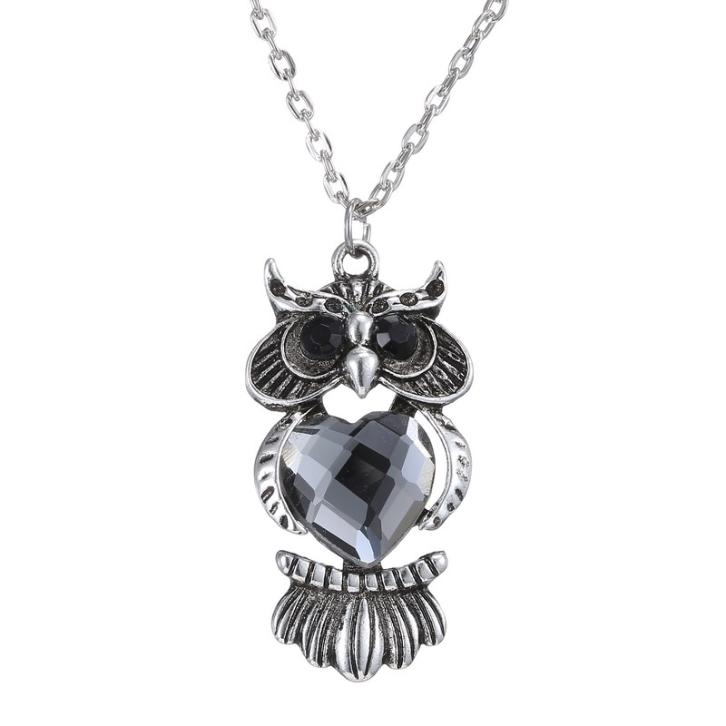 Hot Sale Vintage Owl Pendant Necklaces Fashion Black Eyed Owl Long Chains Necklaces Jewelry For Women(China (Mainland))