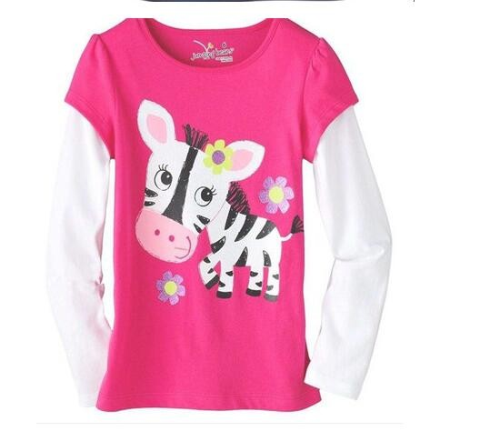 2016 tiskok  New 100% Cotton Kids Clothes Child Blouse Clothing For baby Girls T shirts Top Long Seeve Flower Spring Autumn