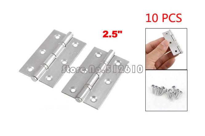"Best Promotion Wholesale Price 10Pcs Home Furniture Hardware Door Hinge Satin Nickel 2.5"" Length Silver Tone(China (Mainland))"