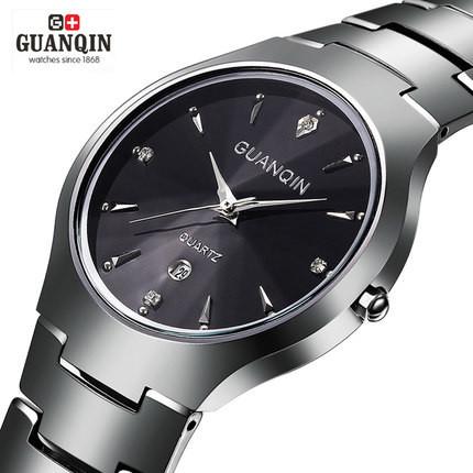 Guanqin Tungsten steel watch Full stainless steel Man fashion dress watches men brand name Geneva quartz Wristwatch best quality<br><br>Aliexpress