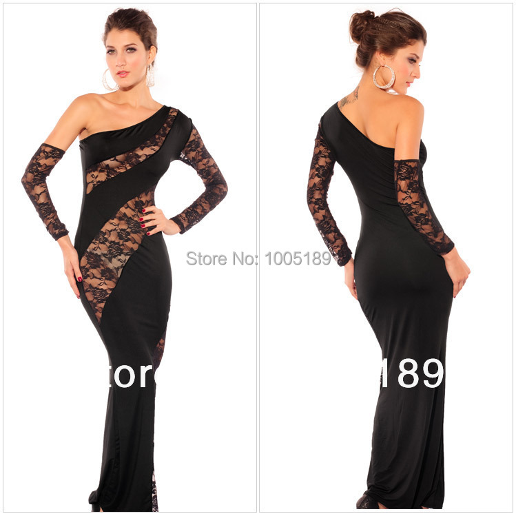 New 2015 women bodycon club party sexy black dress, tight long-sleeved dress oblique shoulder rose lace dress, free shipping(China (Mainland))