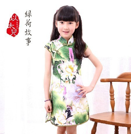 Child cheongsam female large children cheongsam dress summer children's clothing cheongsam tang suit child cheongsam guzheng