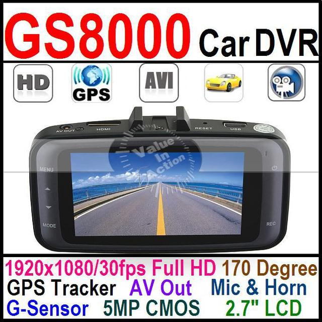 "GS8000 170 Degree 2.7"" LCD Full HD 1920x1080/30fps Car DVR w/ GPS Tracker G-sensor 5MP 1080P Vehicle Camcorder HDMI USB AV Out"