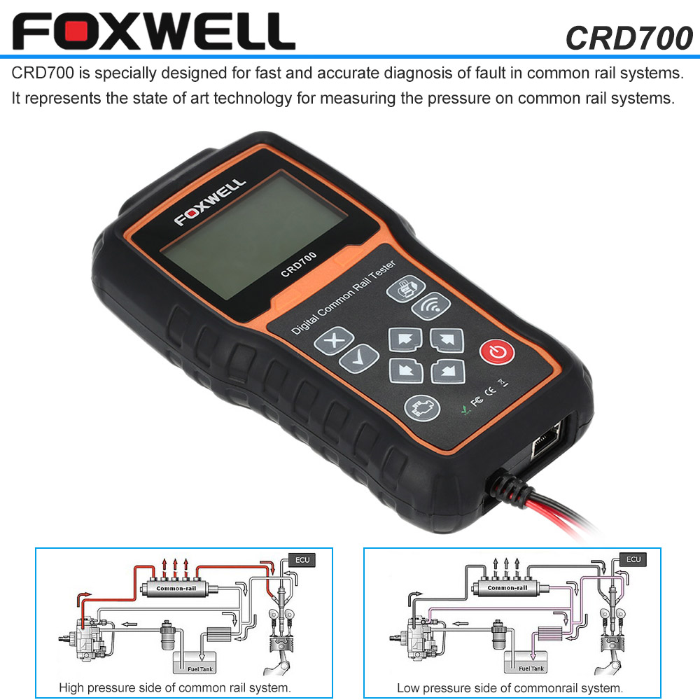 FOXWELL CRD700 Car Diagnostic Scan Tools Digital Common Rail Pressure Tester Scanner Wireless Data Transmitter for Cars(China (Mainland))