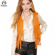 2016 Exclusive Retro Vintage Orange Tassel Vest Blazer Veste Femme Cuir Summer Style Fringe Yellow Leather Jacket(China (Mainland))