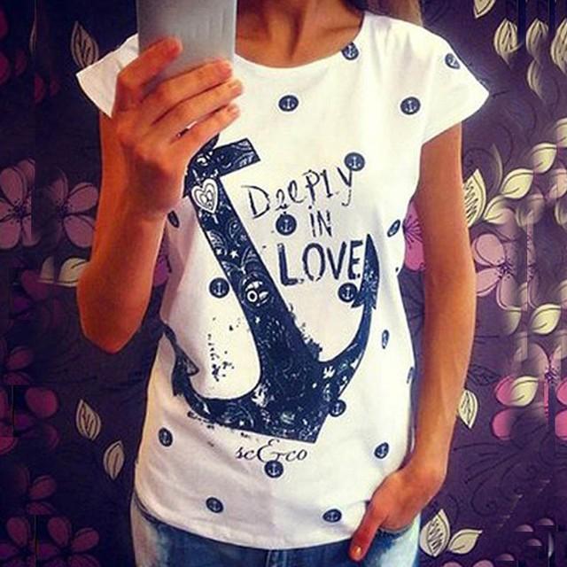 2016 Летние топы тройники дамы Письмо Печати футболка женщины лодка якорь футболка платья женские футболки девушку одежда плюс размер свадебные платья