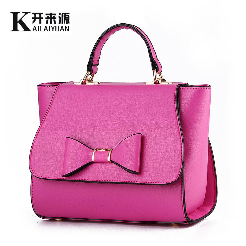 Women bag 2016 fashion shoulder Bow lovely PU crossbody bag handbag(China (Mainland))