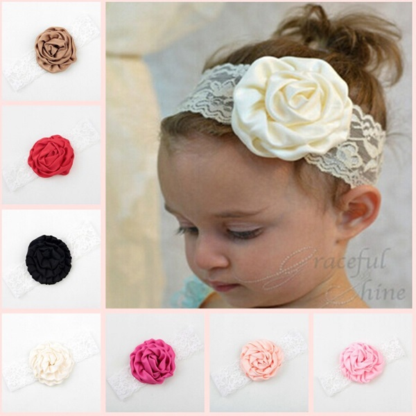 Baby elastic lace Rose headbands Toddler fashion fabric floral hair accessoires High quality 10 solid colors ribbon 10pcs HB430(China (Mainland))