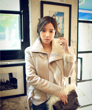 New Woman's locomotive big fur lapels thick Jacket together keep warm deer velvet lambs wool coat short cotton-padded clothes(China (Mainland))