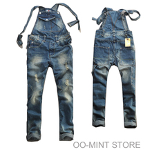 High Quality Man Men's Hot Fashion Destoryed Brand Style Hiphop Casual Overalls Jeans Men Skinny Designer Pants(China (Mainland))