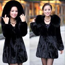 2014 Winter Women's Rabbit Fur Coat Fox Fur Collar Medium-long Hooded Thicken Fur Coats Plus Size S-XXXL-4XL-5XL  Overcoat(China (Mainland))