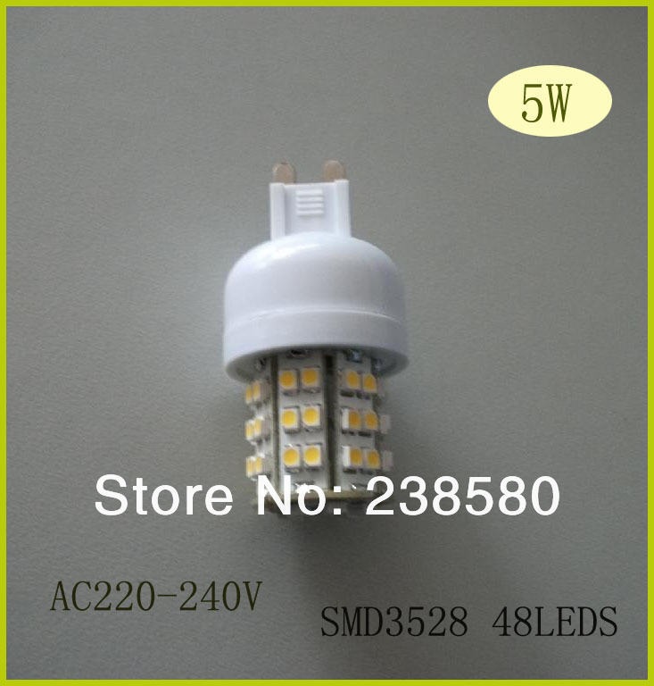 5w led g9 lights g9 led bulbs lamp led table lamp bulbs AC220-240V beam angle 360degree g9 cabinet lights 2pcs free shipping(China (Mainland))