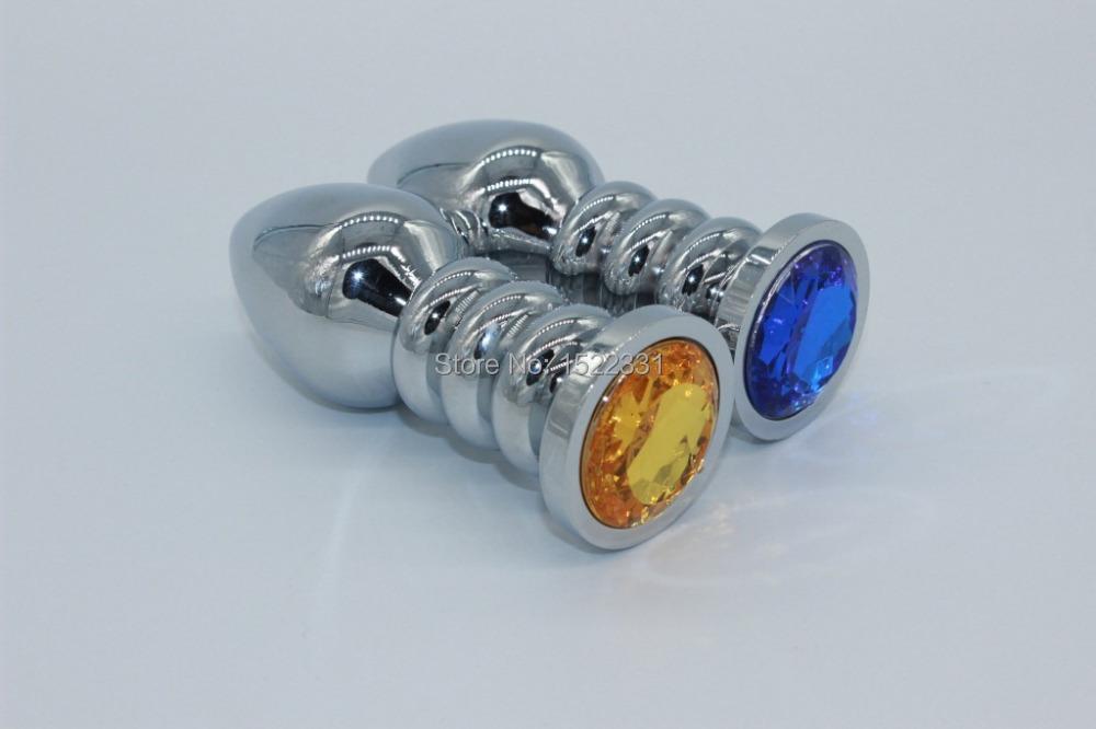 10 CM * 4 CM 12 cores aleatoriamente enviar espiral de Metal Butt Plug Anal brinquedos sexuais brinquedos para mulher Booty Beads aço inoxidável Anal jóias(China (Mainland))