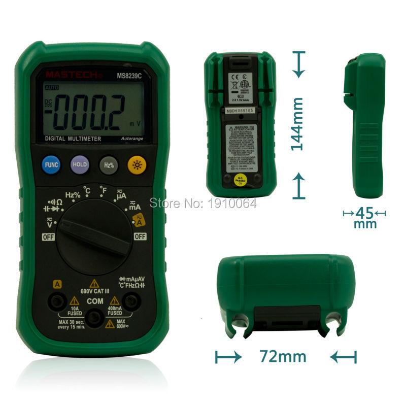 Гаджет  Mastech Auto range Handheld 3 3/4 Digital Multimeter MS8239C AC DC Voltage Current Capacitance Frequency Temperature Tester None Инструменты