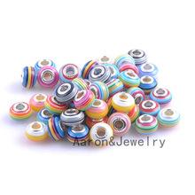 Buy 14mm Silver Big Hole Stripe Resin Flat Round Charms Beads Fit European Pandora Braclet DIY 10PCS DK-049X for $1.40 in AliExpress store