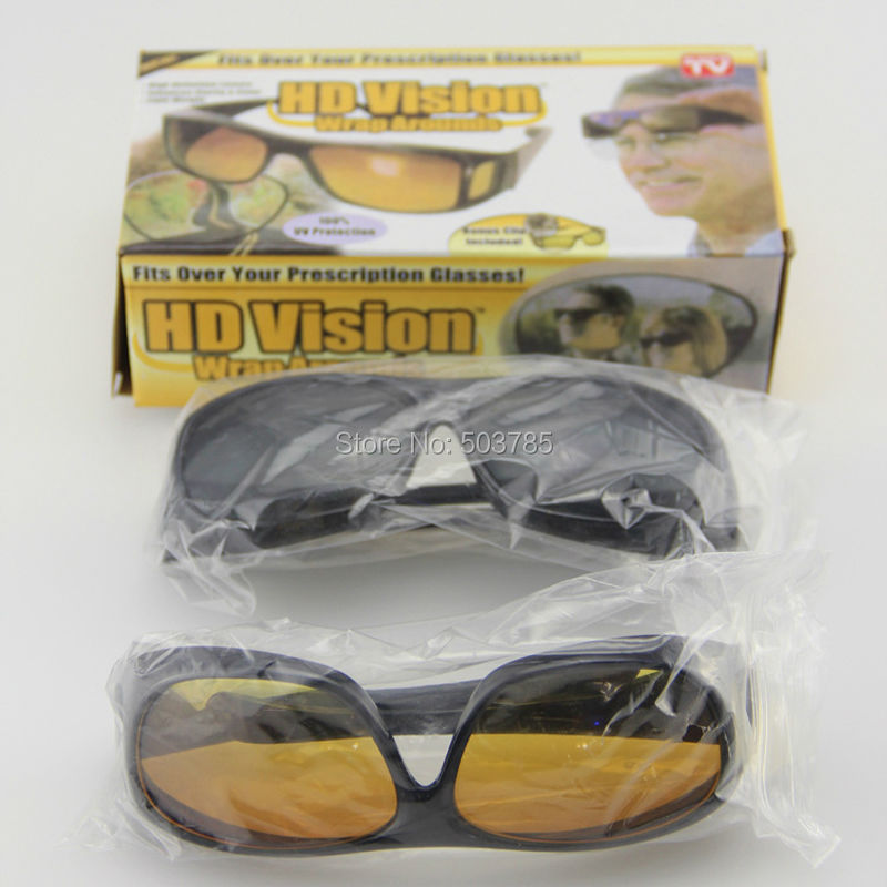 HD High Definition HD Vision Sunglasses Car Driving Wrap Around Wraparounds Eyewear Glasses for Driver(China (Mainland))