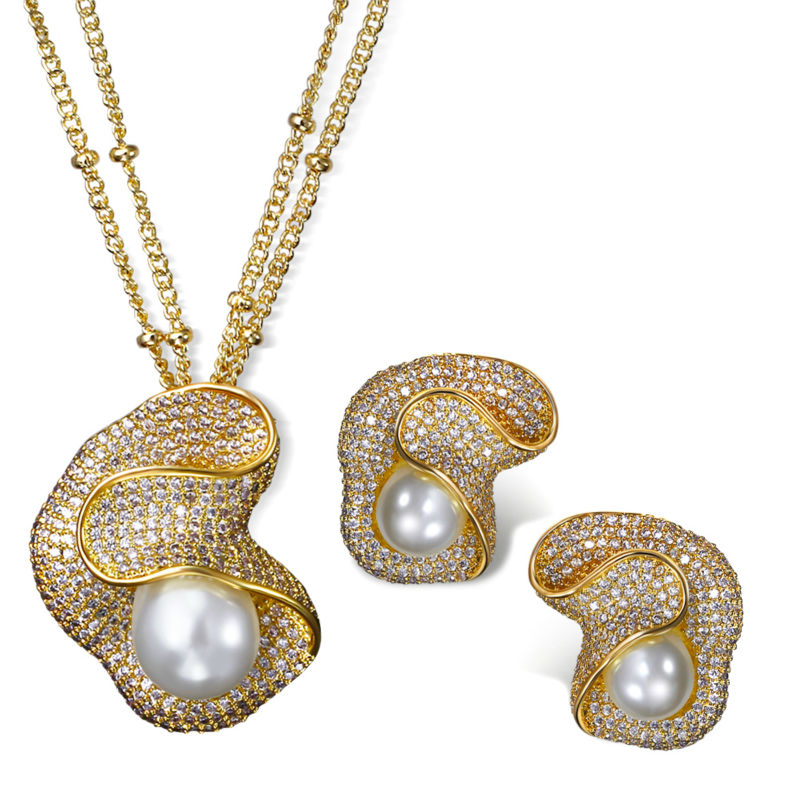 2016 NEW Fashion Jewelry sets Pearl and cubic zirconia with 18k Gold/Platinum plate Pendant necklace and earrings sets(China (Mainland))
