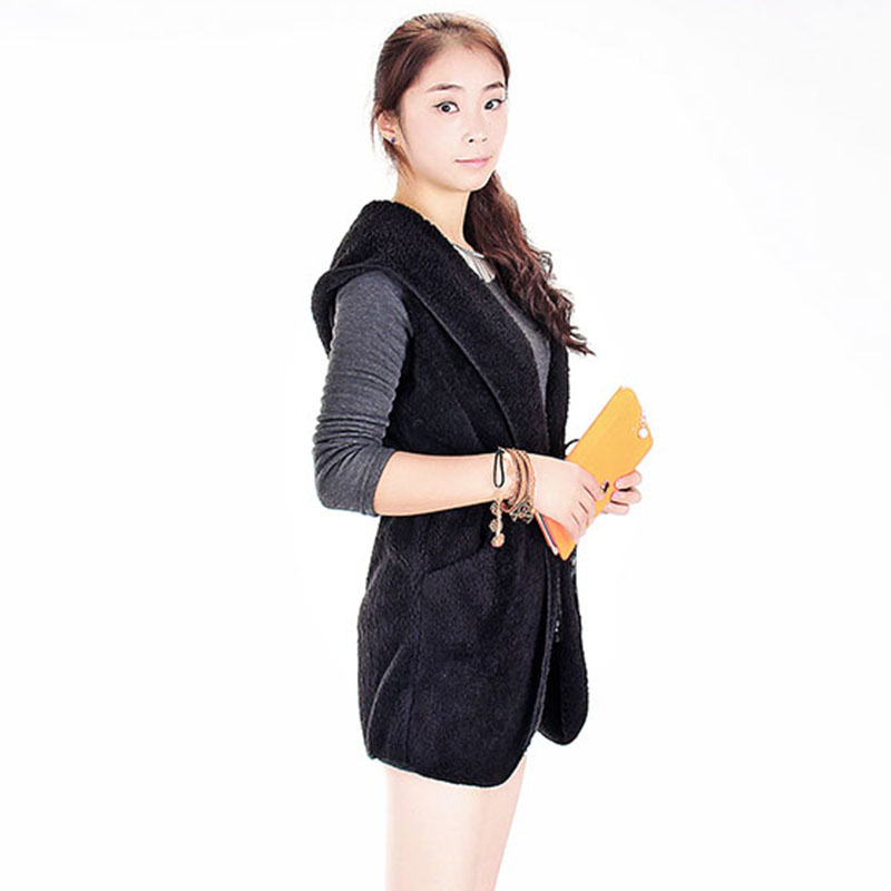2015 Fashion Womens Ladies Hoodie Faux Lamb Fur Long Vest Jacket Coat With Hat free shipping on sale 11 Nov(China (Mainland))