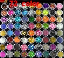 HOT  STAR   New 72 Pots 6 Kinds of Nail Glitter Powder Art Decoration Crush Shell Bead Free Shipping