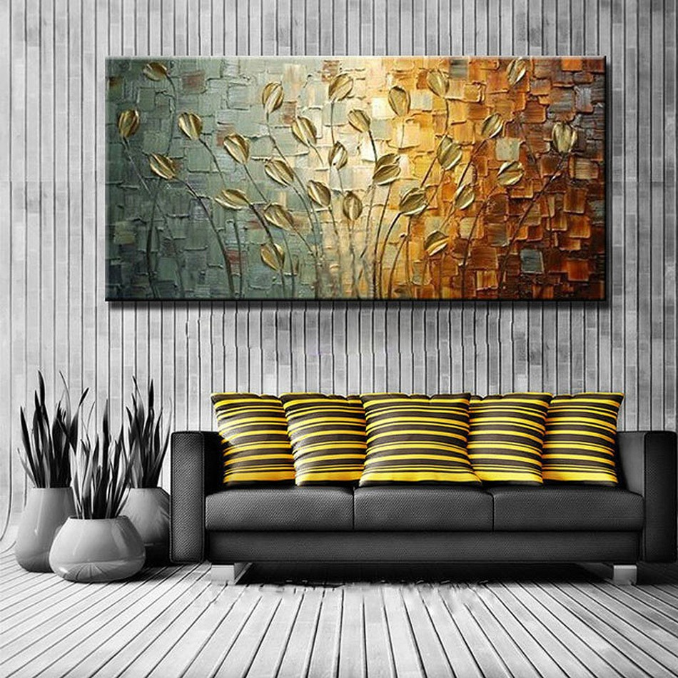 Buy Unframed Handmade Texture Knife Flower Tree Abstract Modern Wall Art Oil Painting Canvas Home Wall Decor For Room Decoration cheap