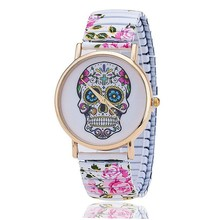 Fashion Flower Printed Spring Watch Stainless Steel Skull Skeleton Watch for Women Quartz Watch Relogio Feminino BW821(China (Mainland))