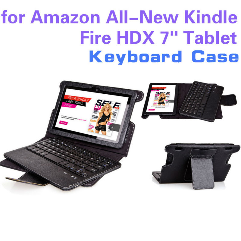 Bluetooth keyboard pu leather cover case for amazon kindle fire hdx