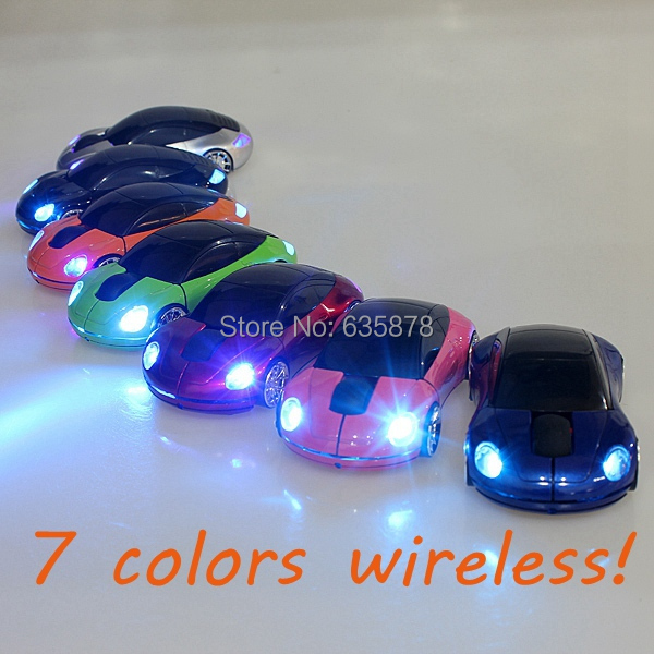 Free Shipping Mini 2.4Ghz 10m Wireless Optical Mouse Mice 1600DPI Car Shape USB Receiver For PC Laptop Notebook(China (Mainland))