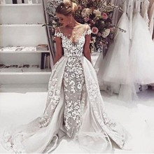 2017 Fashion Lace Mermaid Wedding Dresses Sexy Backless Appliques Short Sleeve Robe De Mariage 2016 Vintafe A-Line Wedding Gowns(China (Mainland))