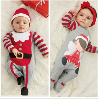 Christmas Gifts Baby Rompers One-piece Santa Claus Costumes Kids Long Sleeve Spring Autumn Baby Wear Clothing Set(China (Mainland))