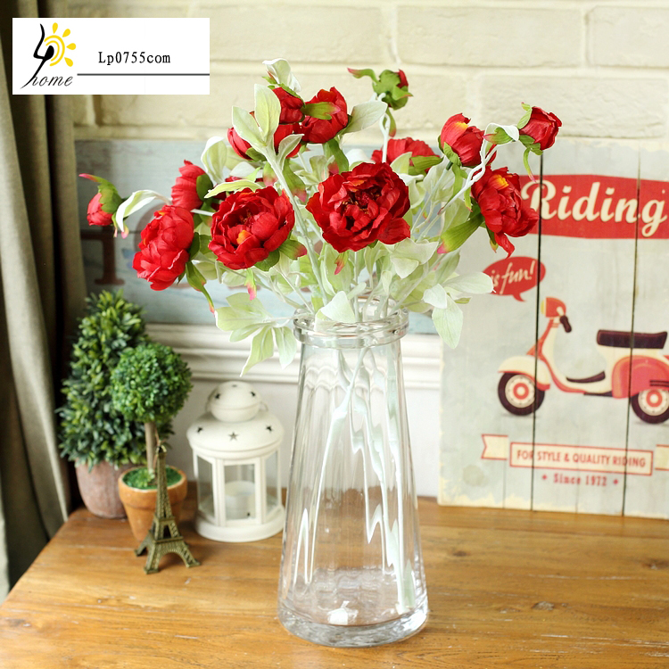 Free Shipping Pastoral decorative flower spring green leaves small peony silk flower single branch flower artificial flowers(China (Mainland))