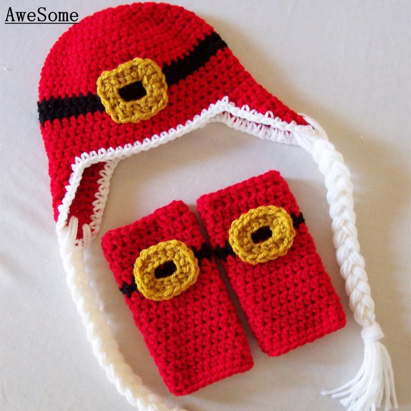 Christmas Santa Laplander Hat&Leg Warmers Set,Knit Crochet Baby Boy Girl Xmas Elf Costume,Newborn Earflap Cap,Toddler Photo Prop(China (Mainland))