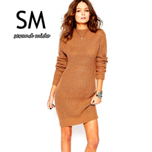2015 Vintage women sweater dress turtleneck winter sweater khaki  dresses long sleeve woolen dress SM4SW015(China (Mainland))
