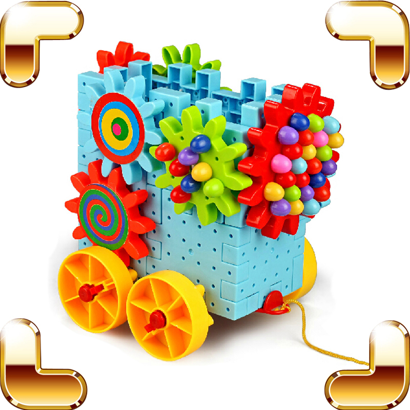 New Idea Gift Children Gear Blocks Toys Baby Education Learning Built Toy Model Car Assemble Brick Rotate Gear Machine For Kids(China (Mainland))