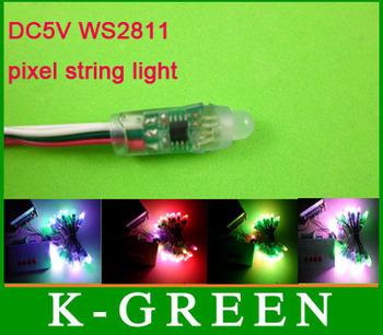 50PCS/Lot 12mm DC5V input WS2811dream coler LED digital pixel full color RGB led string light waterproof  free shipping