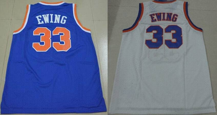 #33 Patrick Ewing Jersey white blue Cheap mens basketball Embroidery Shirts DHL EMS Fast Shipping Authentic Aimee Smith Store(China (Mainland))