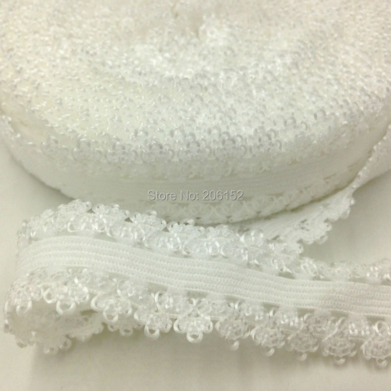 Frilly Edges Elastic Webbing,Lace for Headbands One Roll 16 Yards 3//4 Picot Edge Stretch Lace Beige