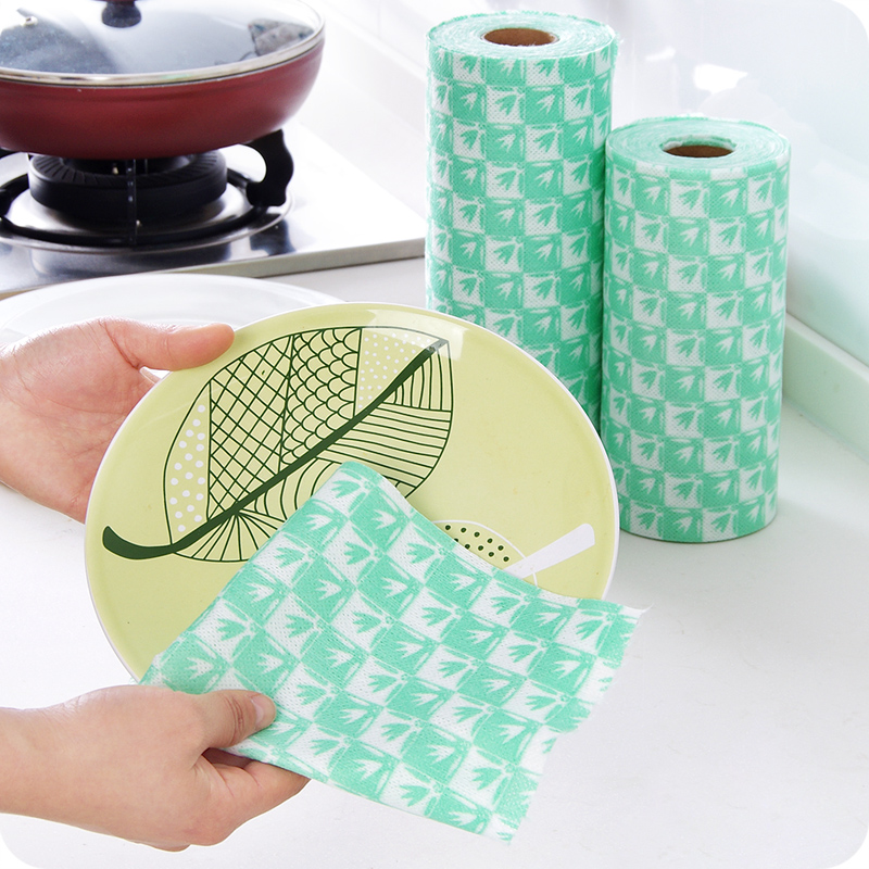 Kitchen Disposable Bamboo Fiber Wash Dishes Clean Towel Dish-cloth Non Stick Oil Lint Free Can Be Cut Disposable Dish Cloth(China (Mainland))