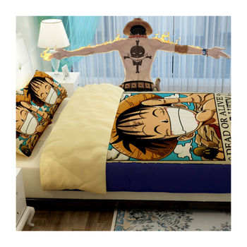 2015 new one piece anime literie cartoon one piece action for Housse de couette one piece