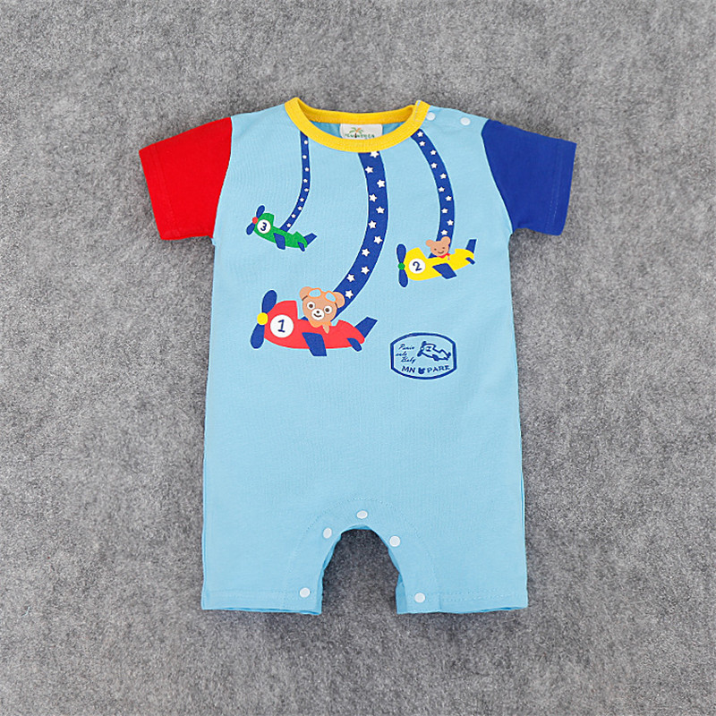 Summer Baby Boy Girl Clothes Cute Cartoon Patchwork Jumpsuits Infantil Newborn Coveralls Next Bebes Dresses Rompers(China (Mainland))