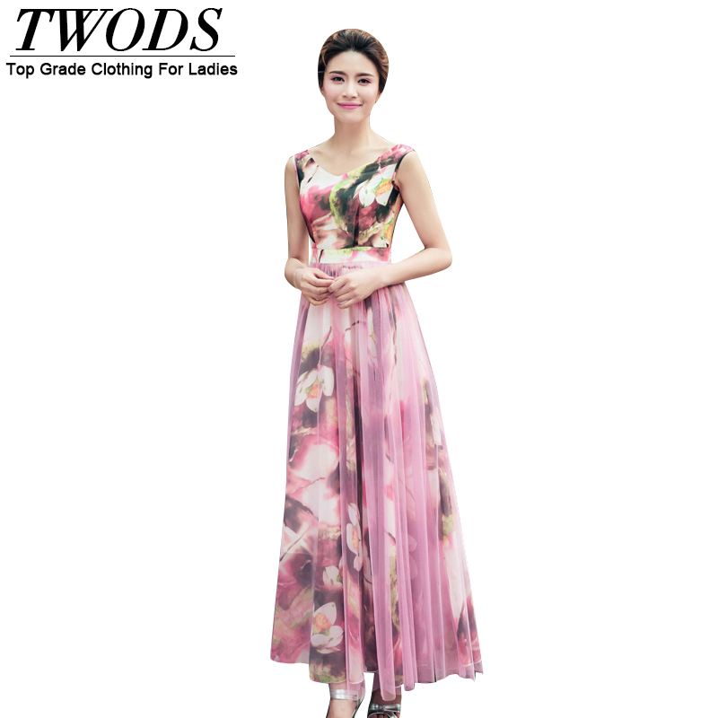 Twods  2016 Summer  New Arrival Chiffon Women Dress Sexy V-neck Sleeveless Mesh Overlay Maxi Long Party Dresses Flowers Print