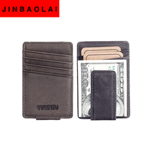 New Genuine Leather Money Clips Men Wallet Fashion Western Vintage Style Design Money Clip Wallets With Card Slots+Coin Pocket(China (Mainland))